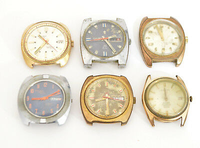 Cauny Lot 6 Vintage Men's Watches Watchmakers Watch parts