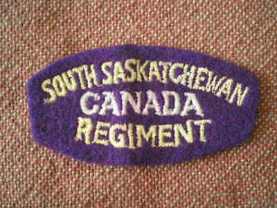 WW2 South Saskatchewan Regiment Cloth Shoulder Title Badge