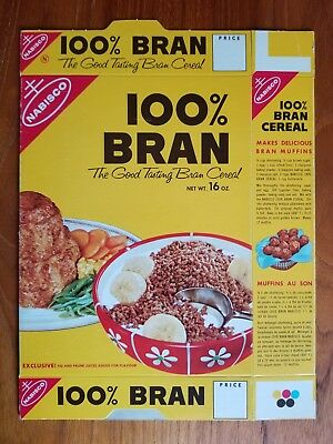 1970's Flat Never Used 100% Bran Cereal Box Nabisco