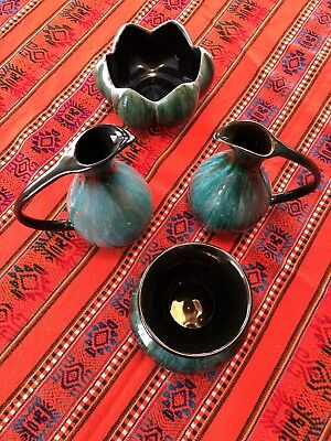 Lot Of 4 Bmp Canada Pottery Green Drip Glaze 2 Pitcher 1 Vase 1 Bowl