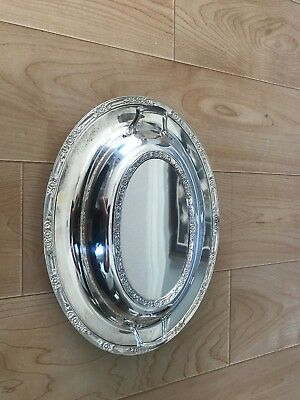 Vintage Silverplate Serving Dish with Cloche -Ornate Flowers 12in