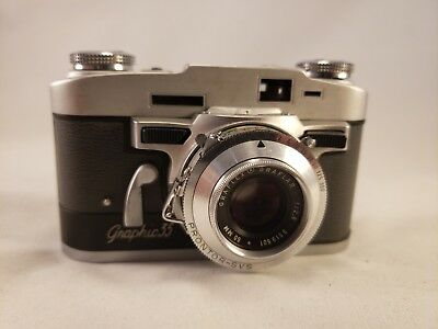 Graflex Graphic 35 35mm Camera with 50mm F/2.8 Lens - Vintage Decor or Parts
