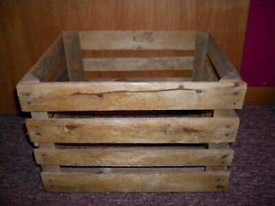 Vintage Antique Wood Slat Fruit Potato Crate Farm Produce Orchard Wooden Box