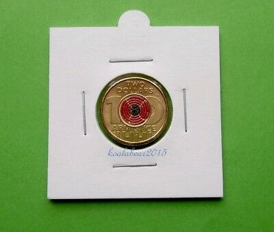 Australia 2018 $2 Two Dollar Remembrance Day Armistice Centenary Red Poppy -Coin