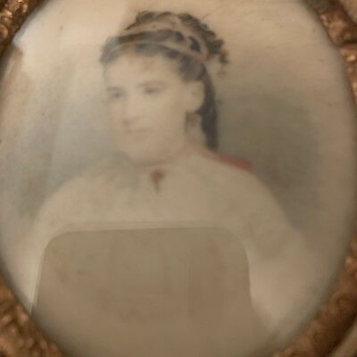 Miniature Portrait of My Great Grandmother Charlotte Sullivan In Cameo Case