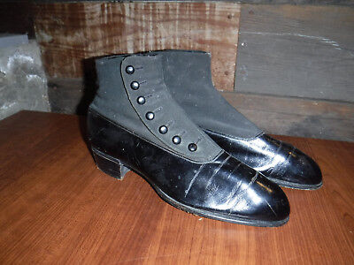 Antique 1880's Victorian Men's Button Up Black Leather Shoes Made In Usa L@@k