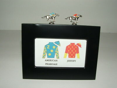 Justify American Pharoah Horse Race Jockey Silk Miniature Figurine Frame Display