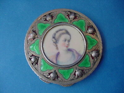 European 800 Enameled Compact with Watercolor Miniature on Celluloid c.1900-1935