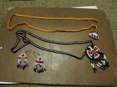 old vintage western american bead beaded work 2 necklace & earrings very nice
