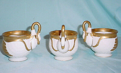 (3) French Swan Bird Cup White Bisque Detailed Guilded Gold Coffee Tea G 1224