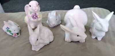 Lot of 6 Ceramic Pottery Porcelain Bunny Rabbit Figures