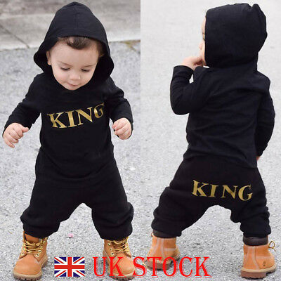 "Newborn Infant Baby Boys ""KING"" Hooded Romper Bodysuit Jumpsuit Clothes Outfit"