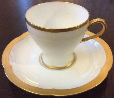 Theodore Haviland Limoges France Demitasse Footed Cup And Saucer Heavy Gold