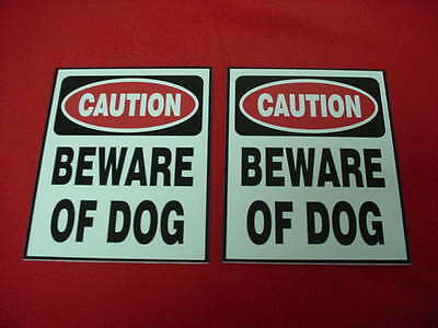 2 BEWARE of DOG Home Security Warning Signs for Door, Window, Gate or Fence