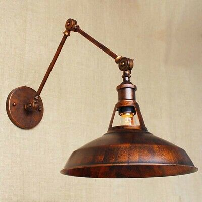Antique Copper Vintage Industrial Wall Light Swing Arm Lamp Sconce Barn Fixture
