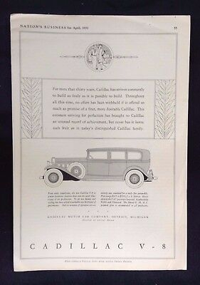 1931 Vintage Art Deco Style Automobile Ad ~ Nation's Business ~ Cadillac V-8
