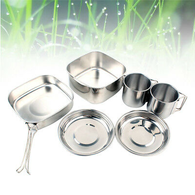 6PCS Durable Stainless Steel Nontoxic Cookware Set for Outdoor Hiking Backpacker