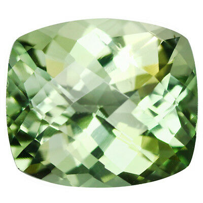 10.35Cts Natural Gorgeous Green Amethyst (Prasiolite) Cushion Checker Cut Gem