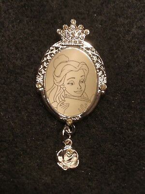 Disney Pin Princess BELLE Beauty Beast jeweled frame gem sparkle rose dangle