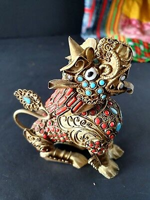 Old Tibetan Brass / Bronze Foo Dog with Local Stones …beautiful collection...
