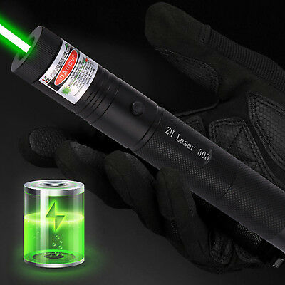 10Miles 532nm 303 Green Laser Pointer Lazer Pen Visible Beam Light+Charg+18650