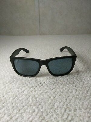 b4d729cef21 Authentic Ray-Ban Rb 4165 622 2V Justin Rubber Black blue Polarized Italy
