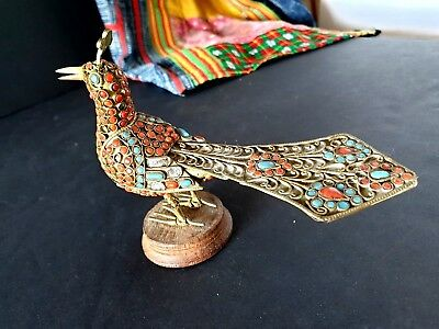 Old Tibetan Brass / Bronze Peacock with Local Stones …beautiful collection...