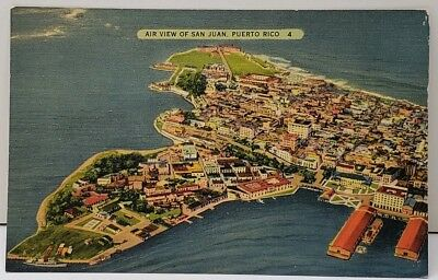 Puerto Rico Air View of San Juan c1939 Linen Postcard D20