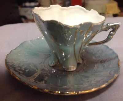 1904 World's Fair St Louis Light Green And Gold Cup & Saucer Set Made In Germany