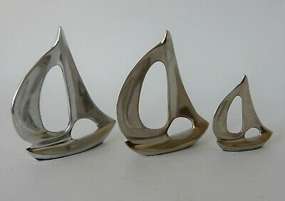 Vintage Retro 60s PAIR of YACHT ORNAMENTS Mid Century CHROME METAL Art Deco