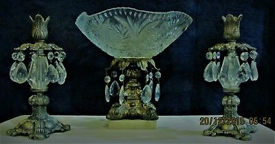 Hollywood Regency  Glass, Marble and Brass  Compote with 2 Candle Holders