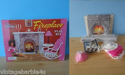 NEW Vintage Gloria Barbie Doll Size Dollhouse Furniture Fire Place Play Set