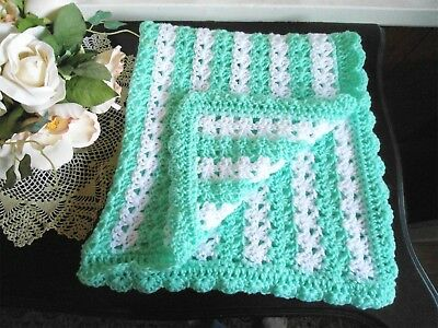 BEAUTIFUL HAND CROCHET BABY BLANKET 28x28YOU PICK COLOR HELP A CANCER SURVIVOR!