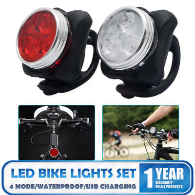 2PCS Bicyclette Vélo Avant Phare éclairage Lampe LED USB Rechargeable