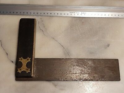 """Vintage/Antique Rosewood Brass Carpenters Square Marking Hand Tool 9"""" 23cm"""