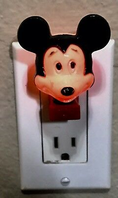 Vintage Mickey Mouse Electric Night Light Plug In Works! Original Disney Product