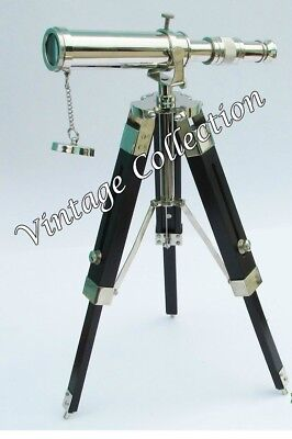 "Antique Maritime Brass Chrome Finish 9"" Telescope with Black Wooden Tripod Stand"