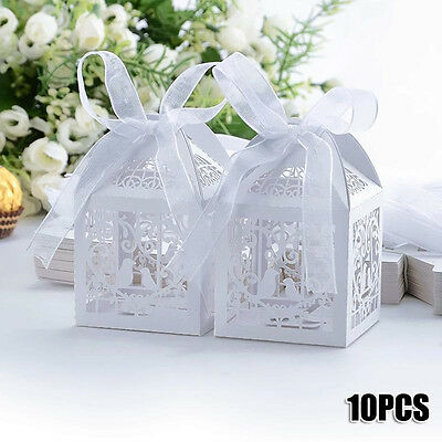 10PCS Bird Love Heart Party Wedding Candy Boxes Hollow Gift Boxes With Ribbon