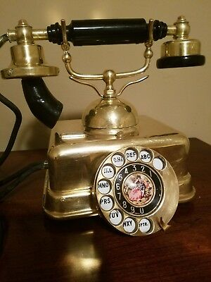 Price Reduced- Working Rare Orig. Solid Brass Antique Danish Rotary Desk Phone