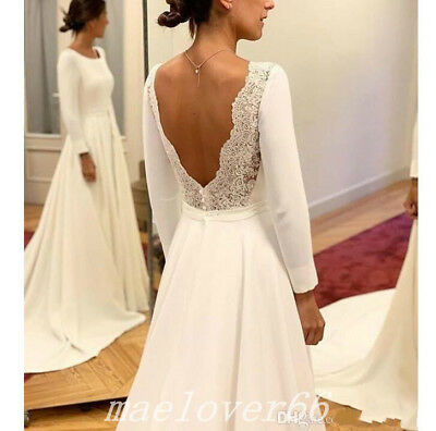 f033c81d03879 SIMPLE BEACH WEDDING Dresses Satin Long Sleeve Backless Bridal Gowns Boho  Custom