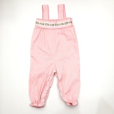 Vintage Baby Girl Pink Romper Ruffle Floral Embroidery 12-18 Months