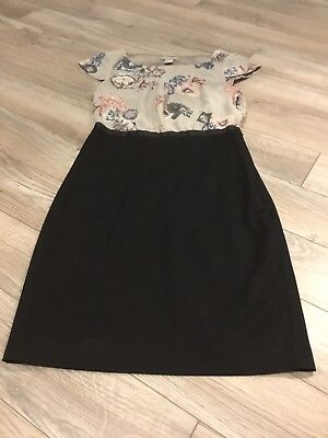 63a24c7d0439 Womens H&M black pink gray floral knee length cap sleeve work dress size 4  vtg