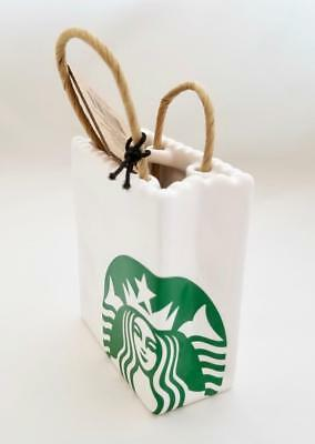 2018 Starbucks Ceramic Giftcard Holder Tote Shopping Bag Xmas Tree Ornament RARE