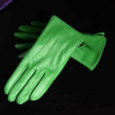 New Womens 100% Real Leather Sheepskin Winter Warm Blue Short Gloves Six Colors