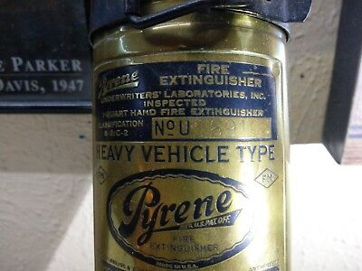 Vintage Brass Pyrene Motorcycle Type Fire Extinguisher  Empty