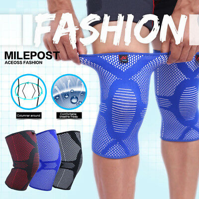 Women Mens Exercise Knee Sleeve Compression Brace Bandage Pain Relief Knee Pads