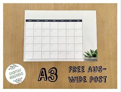 A3 Succulent Fridge Magnet Whiteboard Family Planner Monthly Calendar Diary Note