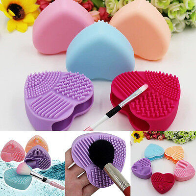 Heart-shaped Silicone Makeup Brush Cleaner Pad Scrubber Board Mat Washing Tools