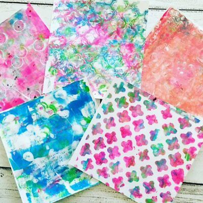 Original Gelli Print Art Papers for Collage, Mixed Media, Art Journals, Craft