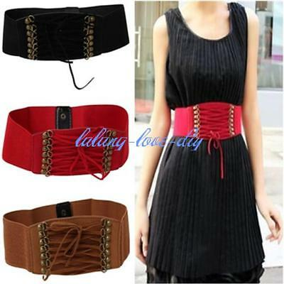 Women/'s Lace Up Tie Up Wide Elastic Stretch Studded Corset Belt Waistband X3H6